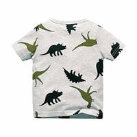 Erkek Kısa Kollu T-Shirt Yaz Gömlek Çocuk Bebek Çocuk Giyim Kaptan Çapalar Dinozor Baskılı Tshirt Tees