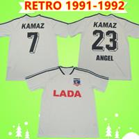 كولو كولو الرجعية 1991 1992 لكرة القدم بالقميص لجنة التنمية المستدامة الأرجنتين البيت الأبيض خمر Camiseta دي فوتبول قمصان كرة القدم الكلاسيكية Camisa دي futebol 91 92
