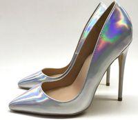 laser Magic color red bottom Women's High heel shoes height 8cm 10cm 12cm Cusp Fine heels Single shoe Big size eu34 to 45 Nightclub dress wedding pumps Pointed Toes logo