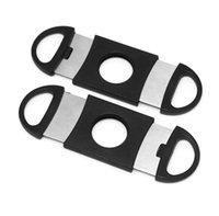 시가 커터 포켓 플라스틱 스테인레스 스틸 더블 블레이드 가위 칼 담배 시가 도구 ABS 블랙 시가 액세서리 100PCS (6108)