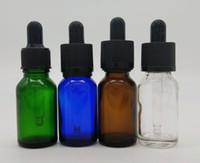 Vape 15ml szklany butelka kroplomierza Clear Amber Green Blue Frosted Clear Matte Kolor ze złotym Silver Black White Cap E Liquid Perfume Oil