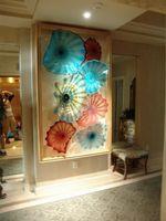 Роскошные высокие потолки висячие Планшеты Нерегулярное волна Форма Чихули Стиль Цветок из муранского стекла Тарелки Art Купол Потолок скульптуры