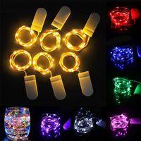 Luz LED de Cordas 1M 2M 3M CR2032 pilhas Decoração de Natal corda leve Copper Sliver fio fada luz do feriado de Cordas
