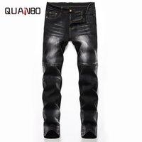 Męskie dżinsy Quanbo 2021 Jesień Zima Balck Mężczyźni Wash Ground White Elastyczne Slim Fit Prosto Wysokiej Jakości Plus Rozmiar 42