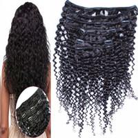 Brasileiro Kinky Curly grampo em extensões do cabelo 8 Peças / Set 100% Virgem Cabelo Humano Natural Color 100g / Set grampo em extensões do cabelo humano
