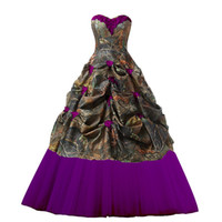 Chic Sweetheart Ball Gown Camo Prom Dresses Tulle Ruffled Fl...