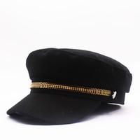 Cuero de lujo de invierno cálido sombrero de lana gruesos pintores Beret sombreros del vendedor de periódicos de la boina boinas Caps estilo fresco para las mujeres de los hombres
