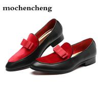 Hombres Zapatos formales Bowknot Vestido de novia Pisos Masculinos Caballeros Casual Slip on Shoes Negro Patente Cuero Rojo Suede Mocasines