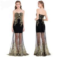 Anjo-modas festa vestido bordado ver através de tulle sweetheart mulheres lace up longo vestido de noite formal preto 189