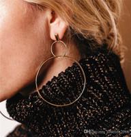 Личность Преувеличивать Женщин Большая Серьга Золото Посеребренные Двойной Круг Серьги Медь Панк Мода Ювелирные Изделия Европейский Стиль A054