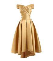 de las mujeres del hombro del satén del oro corto Prom Vestidos Alto Bajo gasa vestido de encaje hasta volver Cóctel Vestidos de 8º vestidos de graduación