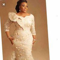 Asoebi-Stilen Meerjungfrau-Prom-formale Kleider 2020 Plus-Größe afrikanischer nigerialer langarm 3D-Blumen-Spitze-Anlass-Abendkleid