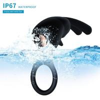 10 Velocità Ritardo di vibrazione del rubinetto Anello con orecchie da coniglio del sesso del silicone Toys Tranquillo USB Charged pene vibratore per coppie Y191010