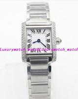 Top Sapphire Ladies Watch Quartz De Luxe W5200013 20mm Cristal Blanc Rectangle Grands Diamants Cas En Acier Inoxydable Montres Femmes