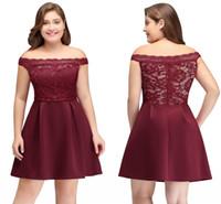 인기있는 판매 부르고뉴 짧은 칵테일 드레스 숄더 레이스 새틴 미니 파티 댄스 파티 가운 저렴한 CPS698