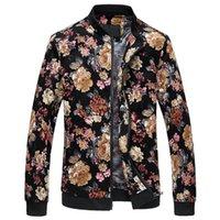 Chaqueta de flores Hombres Moda Casual Designer Chaquetas y abrigos Zipper Cuello de pie Imprimir StreeWearwear