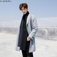 Miscele di lana maschile AremomuWha 2021 Cappotto di lana maschile Versione coreana di lunga sezione di colore solido sottile addensante a vento a vento1241
