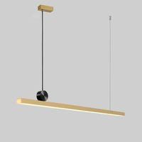 Geometrik şerit kolye restoran İskandinav postmodern minimalist tasarımcı ışık lüks bakır yaratıcı kolye ışık AC 90-265V lambalar