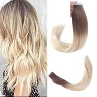 Top bande d'onde de cheveux humains qualité remy 8A-indien droite PU sur les cheveux Extensions 2.5g par pièce, Ombre couleur 6T613 # 40pcs