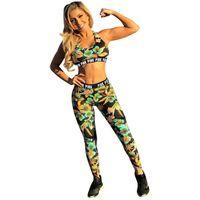 Le donne floreale Tuta disegno fiori Stampa Crop Vest Reggiseno sportivo + pantaloni Legging di marca a due pezzi Outfits fitness di tendenza che coprono insieme D6815