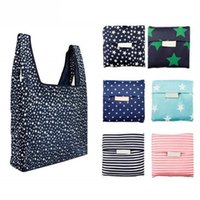 Newly Hot Sale Fashion printing foldable green shopping bag Tote Folding pouch handbags Convenient Large-capacity storage bags