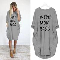 Yaz Kadın Mektup Baskılı Elbiseler Moda Tasarımcı Ekip Boyun Panelli Bayanlar Elbiseler Rahat Gevşek Kısa Kollu Giyim