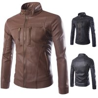 2019 Newest Motorcycle Faux Leather Classic Jacket Multi- zip...