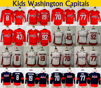 2018 Stadium Series Kids Washington Capitals 77 TJ Oshie 8 Alex Ovechkin 70 Holtby 92 Kuznetsov 19 Backstrom 43 Wilson Youth Hockey Jerseys