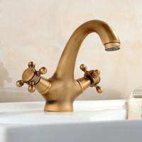 Antykwarski kran Gorący i zimny dźwig wodny Bronze szczotkowane bateria zlew czarna łazienka łabędź rocznika umywalka zlewozmywakowy żuraw