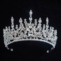 Cristal baroque luxueux Bling Bling Strass orné Couronne de mariée Moyen-Orient Moyen-Orient Headpieces Head Tiaras Accessoires