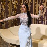 Shining Müslüman Lüks illusion Uzun Kollu Abiye dantelli şifon 2019 Yüksek Boyun gelinlik modelleri Payetli Ruffles Abiye giyim