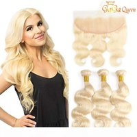 613 Body Wave Hair Bundles With 4x13 frontal closure Blonde ...