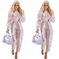 Frauen aushöhlen Plissee-weiße Spitze Jumpsuit Kleid Damen mit V-Ausschnitt Band Laterne Hülse breiten Bein-hohe Taille Langen Overall elegante Outfits
