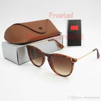 10 قطع الأزياء جولة نظارات شمسية نظارات الشمس مصمم العلامة التجارية أسود إطار معدني العدسات الزجاجية الظلام لرجل إمرأة أفضل حالات البني