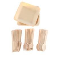 48PCS 일회용 식기 칼 세트 나무 저녁 식사 식기 샐러드 디저트 접시 숟가락 포크 나이프 파티 용품