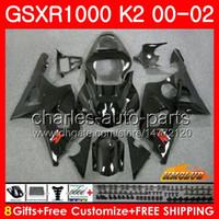 Frame voor Suzuki GSX-R1000 GSXR1000 K2 GSX R1000 00 02 BODYS KIT 14HC.1 GSXR-1000 GLOSSY BLACK NIEUWE GSXR 1000 00 01 02 2000 2001 2002 KUNSTEN