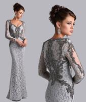 Custom Made Mãe de prata da noiva Vestidos Sereia V-neck mangas compridas rendas frisado mãe Vestidos Vestidos de casamento