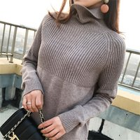 Pulls Femmes 2021 Spring Automne Femmes Jersey à manches longues Turtleneck Pull Sweather Pull Pull Femme Jumper Tricoter Cachemire Sweet