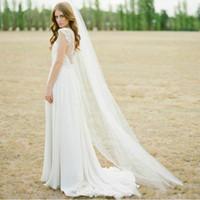 Economico 3 m cattedrale lunghezza bianco avorio singolo uno strato due strati lunghi veli da sposa con pettine accessori per veli da sposa morbida per spose