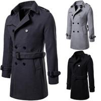 Mens Herbst-Winter-Datum plus Größen-lange Graben-Mantel-Wolltuch Overcoat Schwarz Grau Farben Trenchcoat