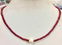 perle d'eau douce blanche à la main 9-10mm 2x4mm jade rouge Collier facettes longue 45cm 4pc / lot
