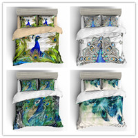 3D Green Peacock feather HD printing Duvet cover set with pi...