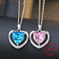 Pink Blue LOVE Heart- Shaped Pendant 925 Sterling Silver New ...
