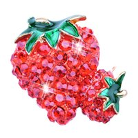 Strawberry Brooches For Men Women - Trendy Alloy Enamel Crys...