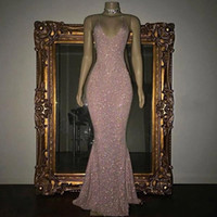 Charming Rose Pink Full Sequined 2019 Prom Dresses Sexy Spag...