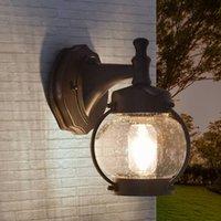 EU Stock parede exterior Lâmpadas anoitecer para forma redonda preto branco moderno madrugada sensor de iluminação exterior impermeável para casa