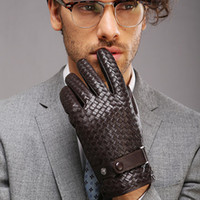 Fashion-Handschuhe für Herren New High-End Weave Echtes LederSolid Wrist Sheepskin Glove Man Winter Warmth Driving
