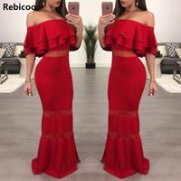 Rebicoo Женщины Сексуальная Элегантный Формальное Бальные платья Красный Сборки с плеча Backless карандаша лета платья Bodycon Boho платья макси