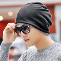 Hiver chaud Bonnet tricoté Bonnet coton deux tons Foulard Chapeaux double usage Cap écharpe pour les femmes hommes Snood Chapeaux en plein air de ski cyclisme thermique
