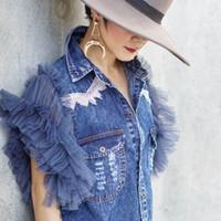 2020 Frühjahr neue Nische Design Sinn Super Garn Hülse Retro-Trend Jeansweste Frauen